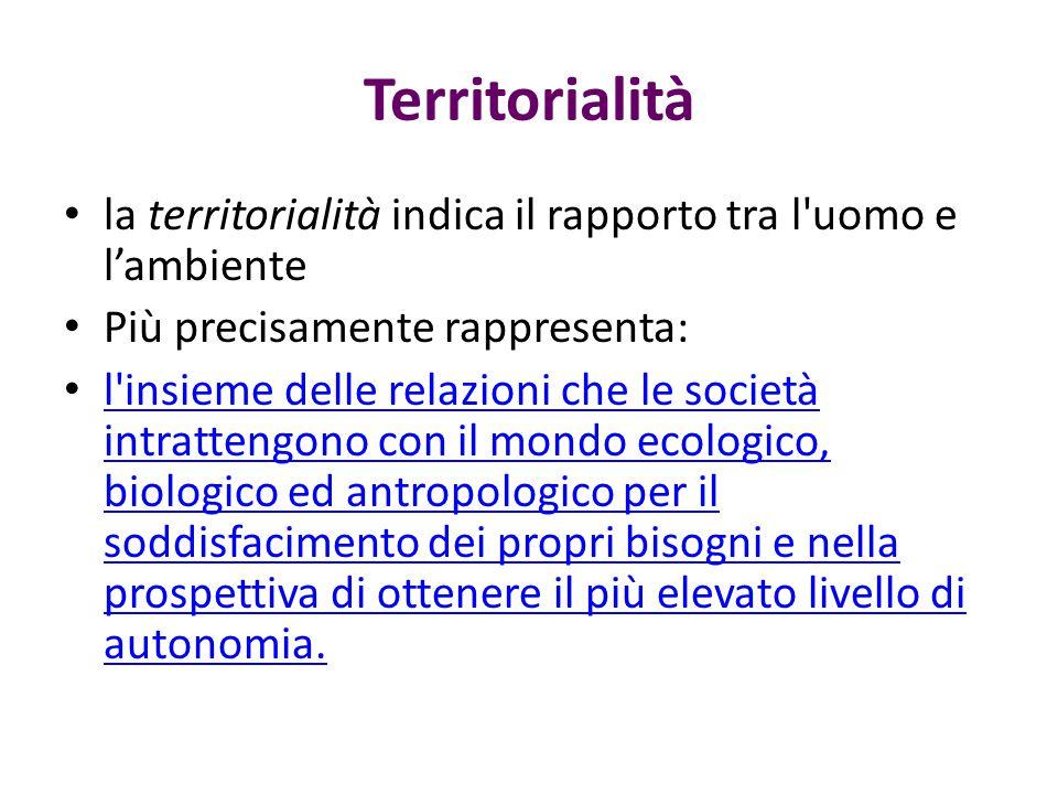 Territorialità la territorialità indica il rapporto tra l uomo e l'ambiente. Più precisamente rappresenta: