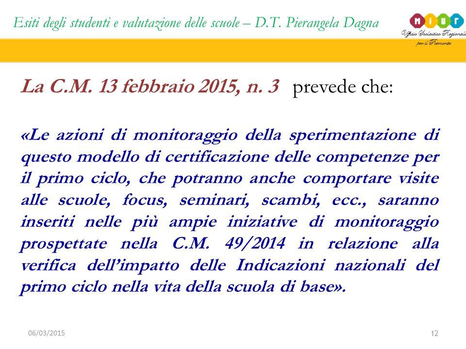 La C.M. 13 febbraio 2015, n. 3 prevede che: