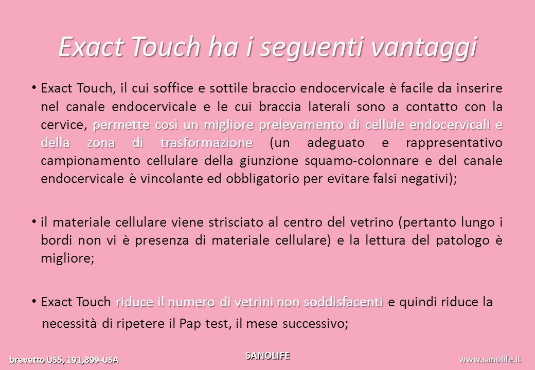 Exact Touch ha i seguenti vantaggi