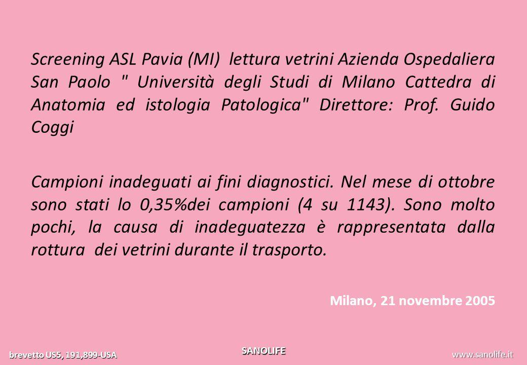 Screening ASL Pavia (MI) lettura vetrini Azienda Ospedaliera San Paolo Università degli Studi di Milano Cattedra di Anatomia ed istologia Patologica Direttore: Prof. Guido Coggi