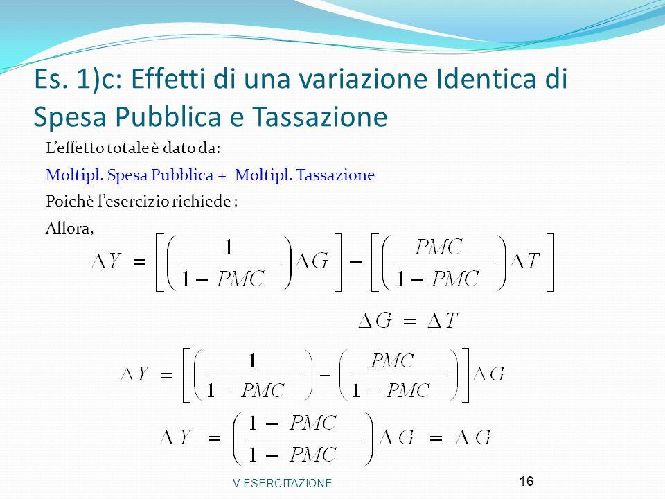 Es. 1)c: Effetti di una variazione Identica di Spesa Pubblica e Tassazione