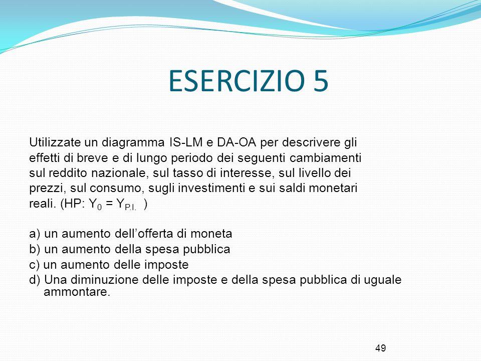ESERCIZIO 5 Utilizzate un diagramma IS-LM e DA-OA per descrivere gli