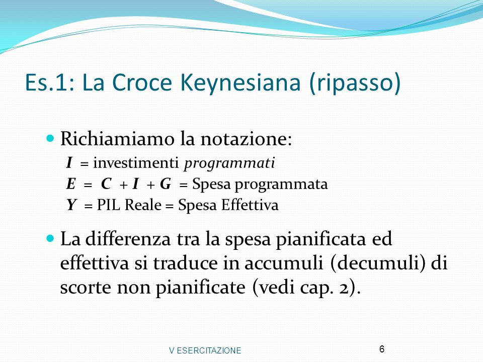 Es.1: La Croce Keynesiana (ripasso)
