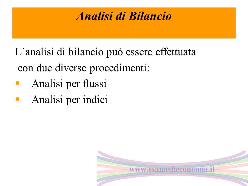 Analisi di Bilancio L'analisi di bilancio può essere effettuata