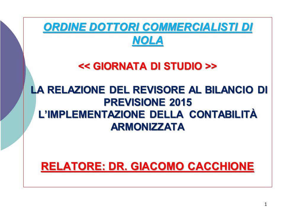 ORDINE DOTTORI COMMERCIALISTI DI NOLA << GIORNATA DI STUDIO >> LA RELAZIONE DEL REVISORE AL BILANCIO DI PREVISIONE 2015 L'IMPLEMENTAZIONE DELLA CONTABILITÀ ARMONIZZATA RELATORE: DR.