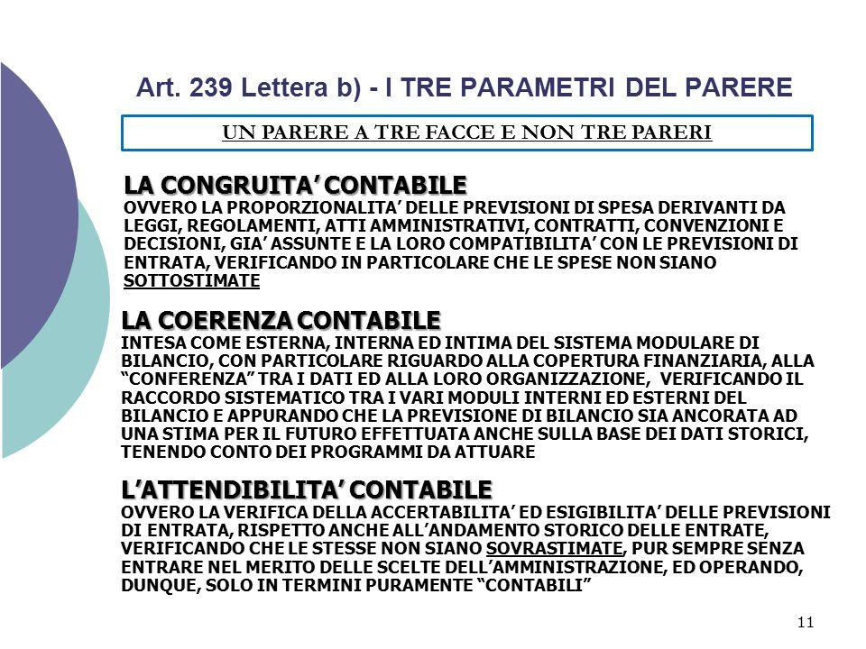 Art. 239 Lettera b) - I TRE PARAMETRI DEL PARERE