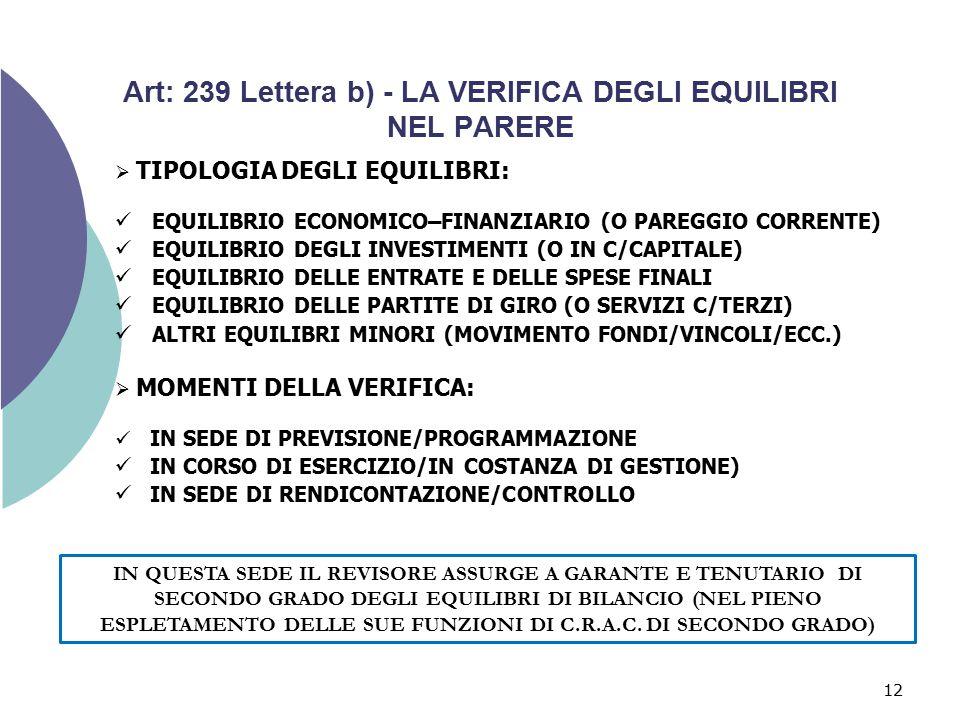 Art: 239 Lettera b) - LA VERIFICA DEGLI EQUILIBRI NEL PARERE