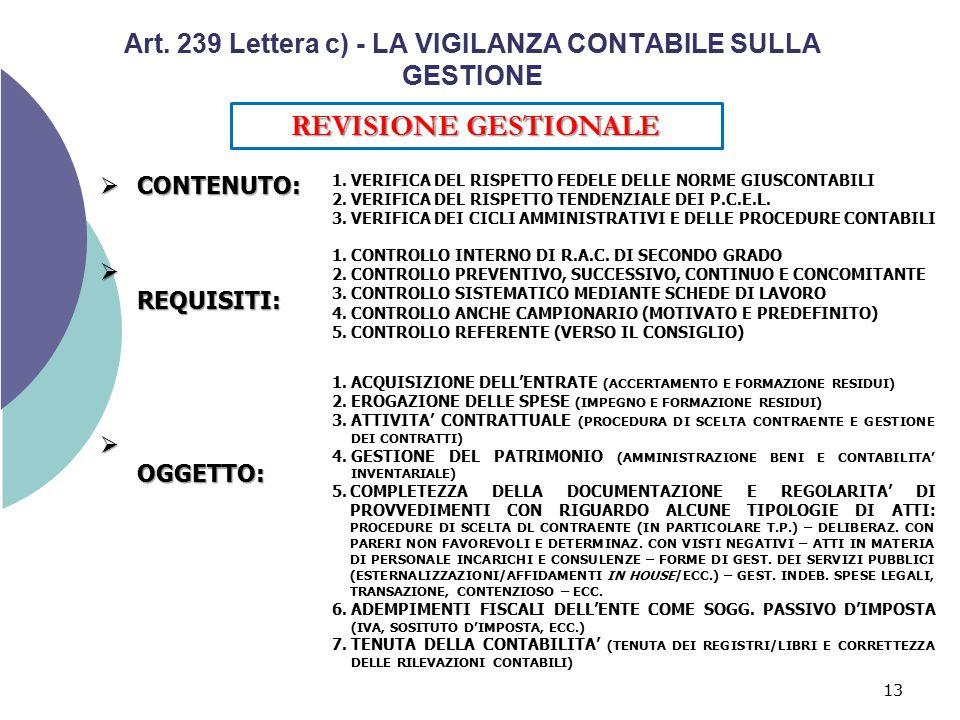 Art. 239 Lettera c) - LA VIGILANZA CONTABILE SULLA GESTIONE