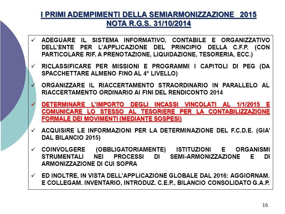 I PRIMI ADEMPIMENTI DELLA SEMIARMONIZZAZIONE 2015