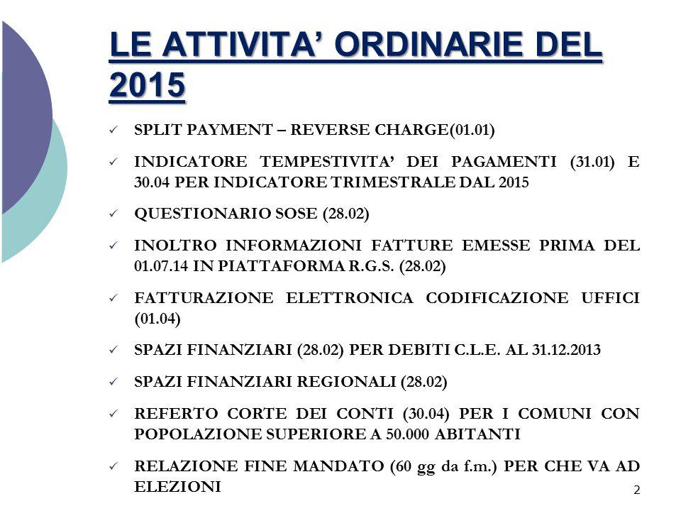 LE ATTIVITA' ORDINARIE DEL 2015