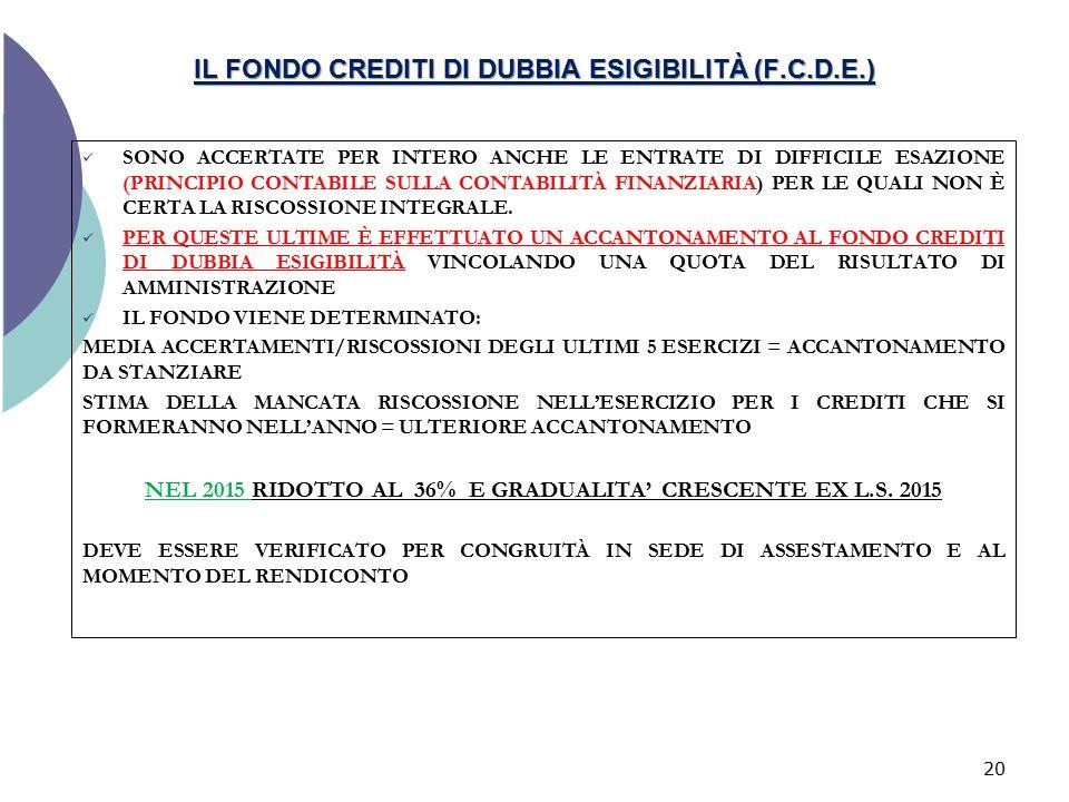 IL FONDO CREDITI DI DUBBIA ESIGIBILITÀ (F.C.D.E.)