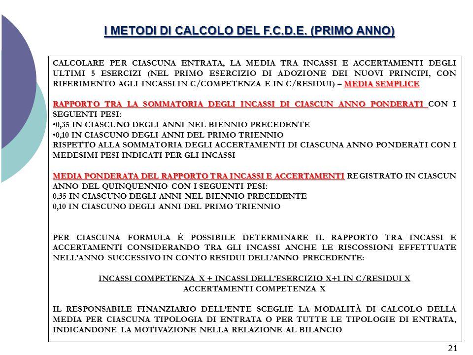 I METODI DI CALCOLO DEL F.C.D.E. (PRIMO ANNO)