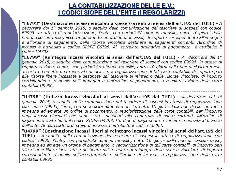 LA CONTABILIZZAZIONE DELLE E. V