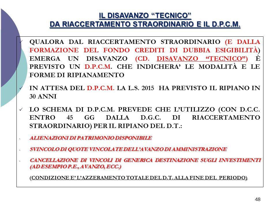 IL DISAVANZO TECNICO DA RIACCERTAMENTO STRAORDINARIO E IL D.P.C.M.