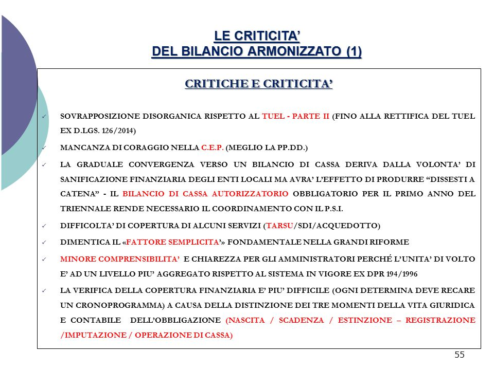 LE CRITICITA' DEL BILANCIO ARMONIZZATO (1)