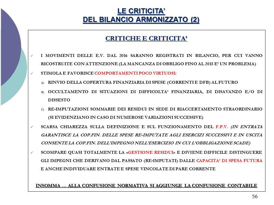 LE CRITICITA' DEL BILANCIO ARMONIZZATO (2)
