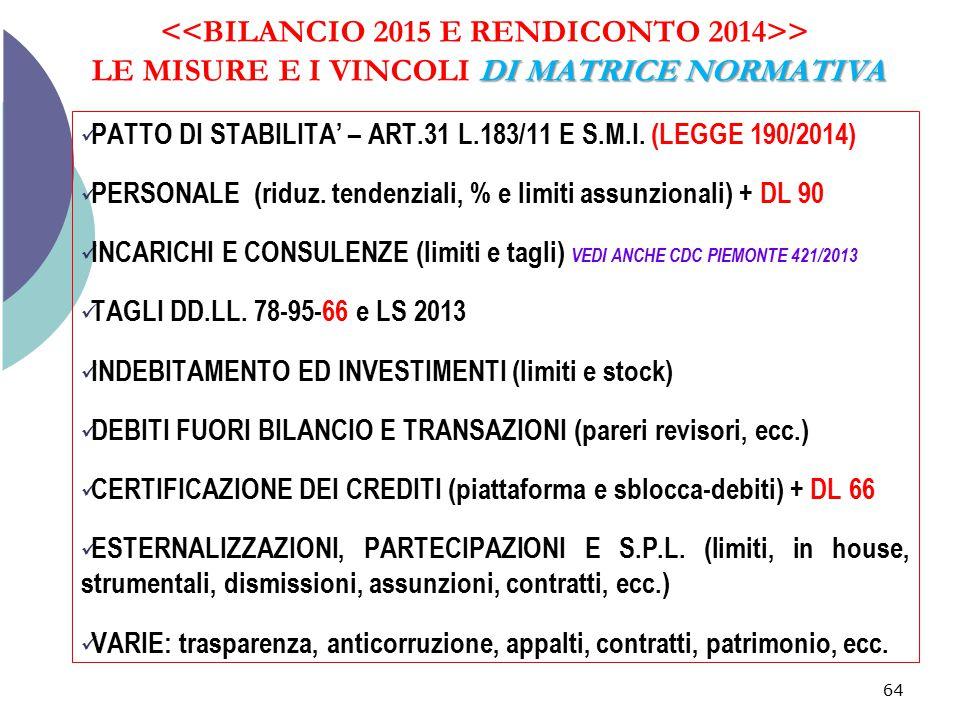 <<BILANCIO 2015 E RENDICONTO 2014>> LE MISURE E I VINCOLI DI MATRICE NORMATIVA