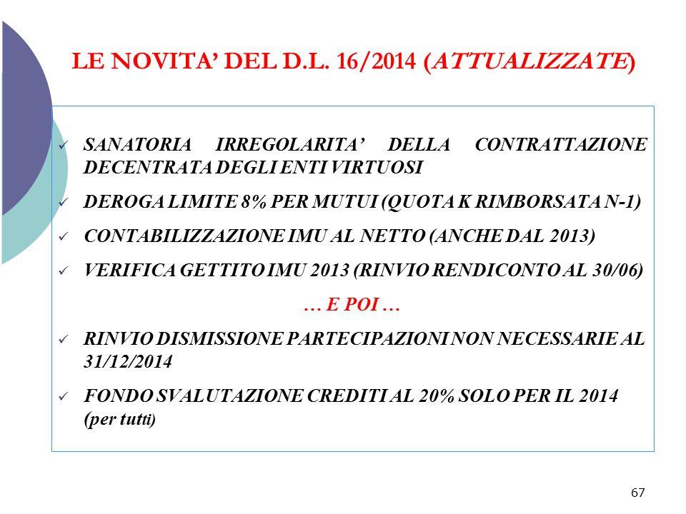 LE NOVITA' DEL D.L. 16/2014 (ATTUALIZZATE)