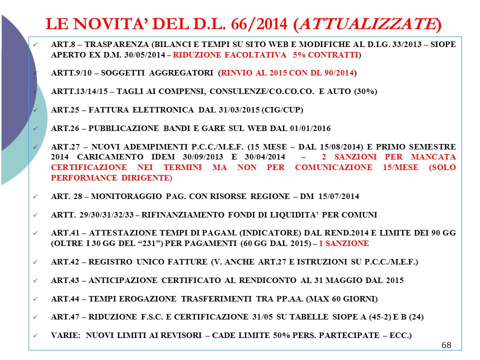 LE NOVITA' DEL D.L. 66/2014 (ATTUALIZZATE)