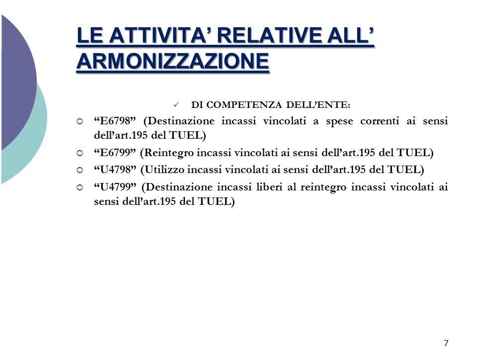 LE ATTIVITA' RELATIVE ALL' ARMONIZZAZIONE