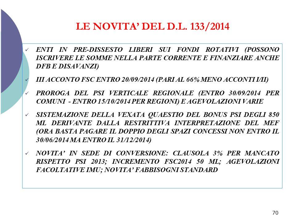 LE NOVITA' DEL D.L. 133/2014