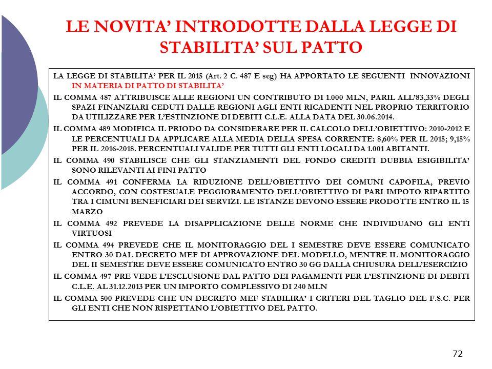 LE NOVITA' INTRODOTTE DALLA LEGGE DI STABILITA' SUL PATTO
