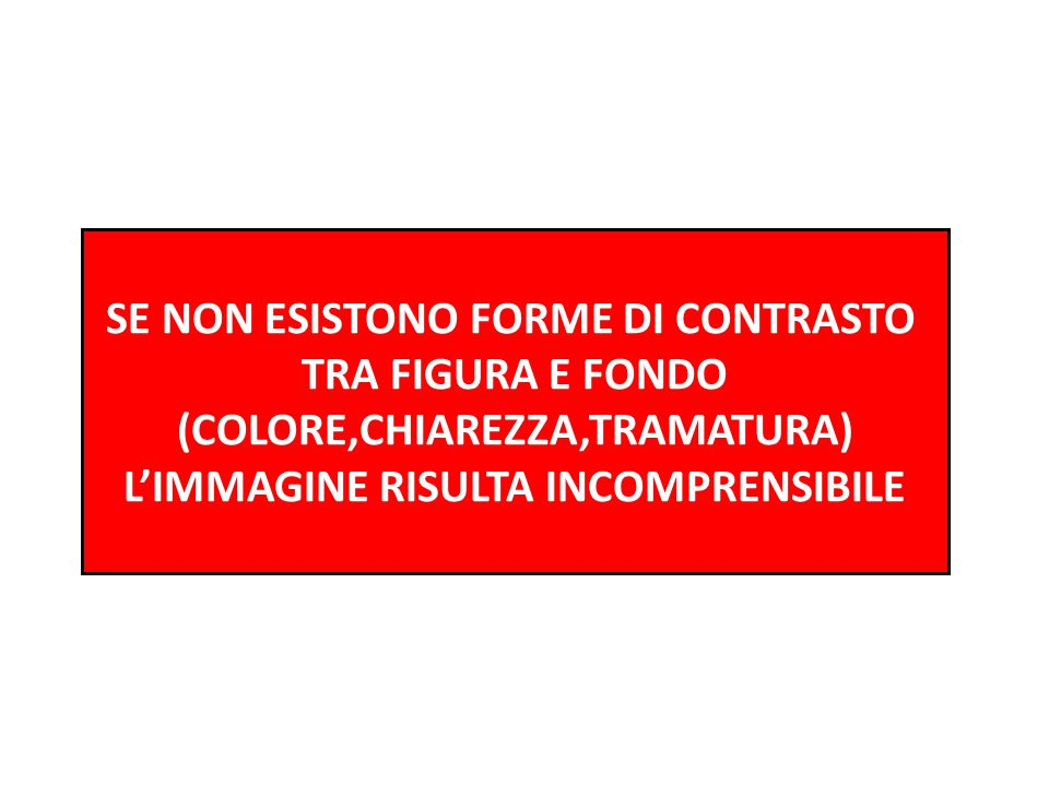 SE NON ESISTONO FORME DI CONTRASTO TRA FIGURA E FONDO
