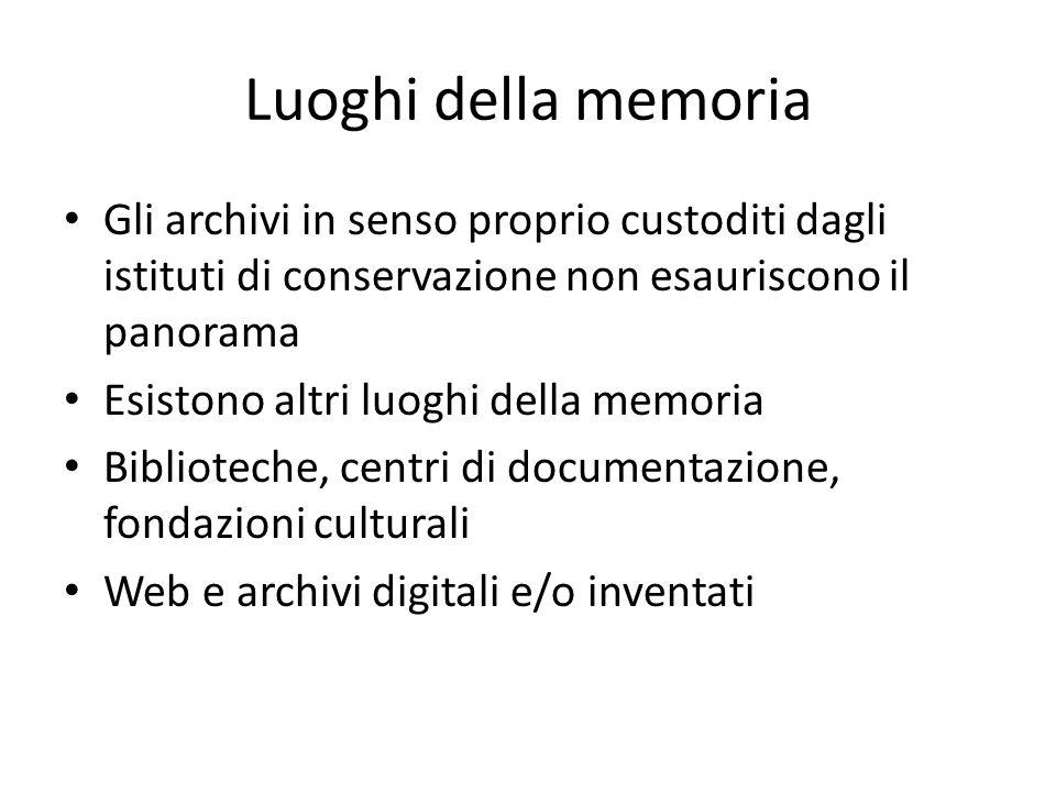 Luoghi della memoria Gli archivi in senso proprio custoditi dagli istituti di conservazione non esauriscono il panorama.