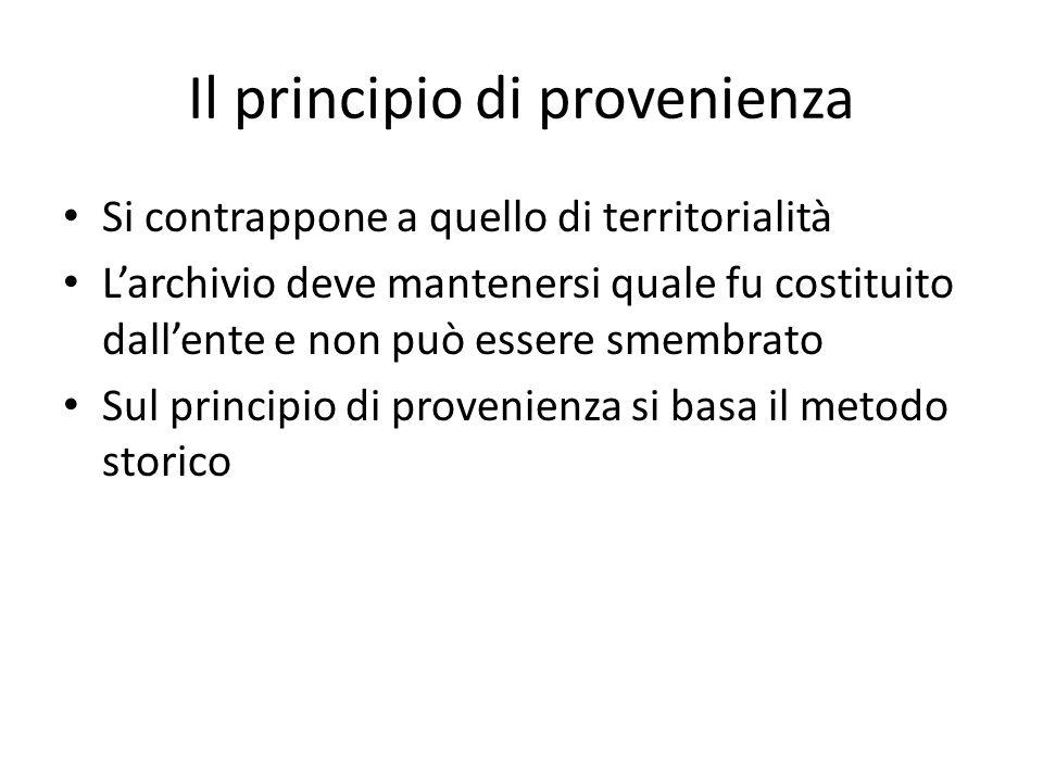 Il principio di provenienza
