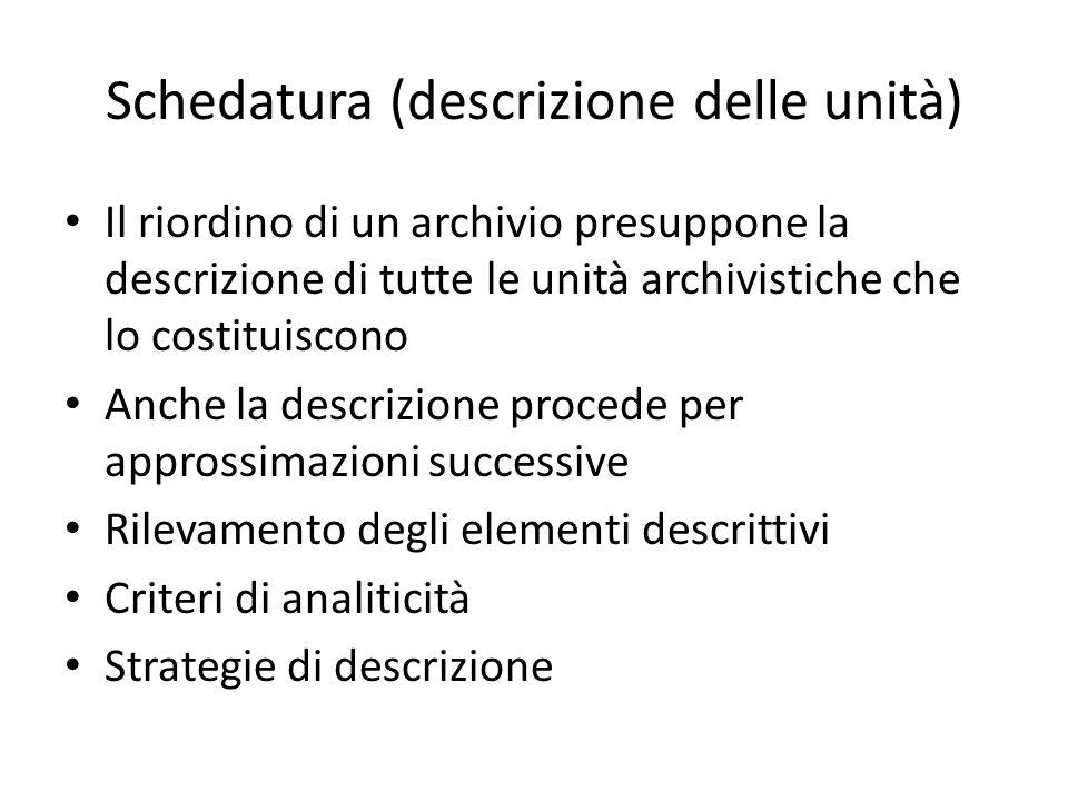 Schedatura (descrizione delle unità)