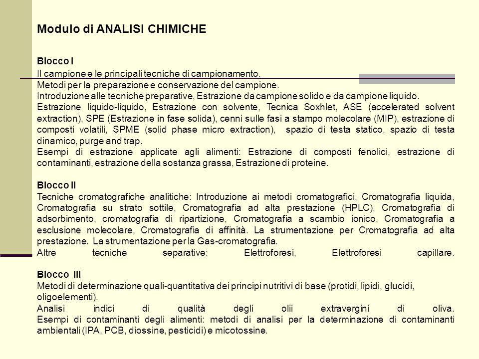 Modulo di ANALISI CHIMICHE