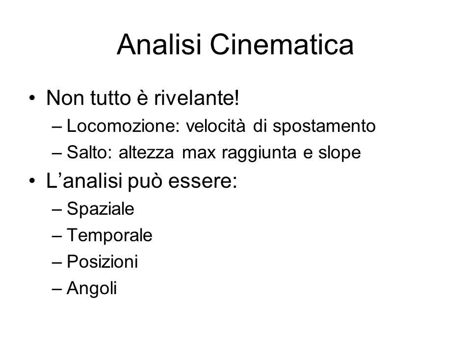 Analisi Cinematica Non tutto è rivelante! L'analisi può essere: