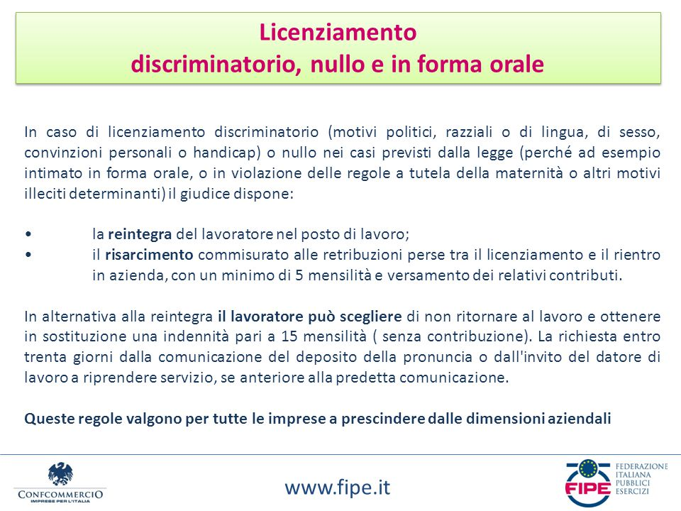 discriminatorio, nullo e in forma orale