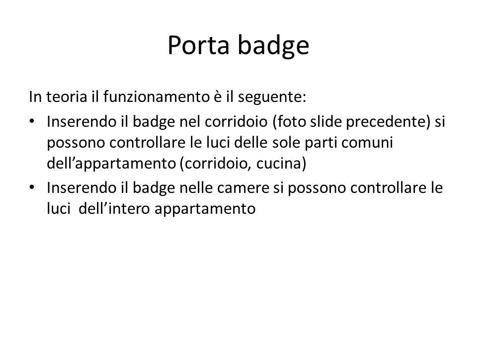 Porta badge In teoria il funzionamento è il seguente: