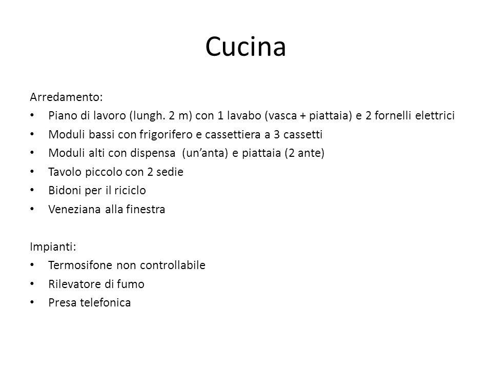 Cucina Arredamento: Piano di lavoro (lungh. 2 m) con 1 lavabo (vasca + piattaia) e 2 fornelli elettrici.