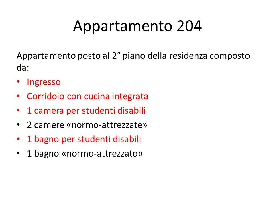 Appartamento 204 Appartamento posto al 2° piano della residenza composto da: Ingresso. Corridoio con cucina integrata.