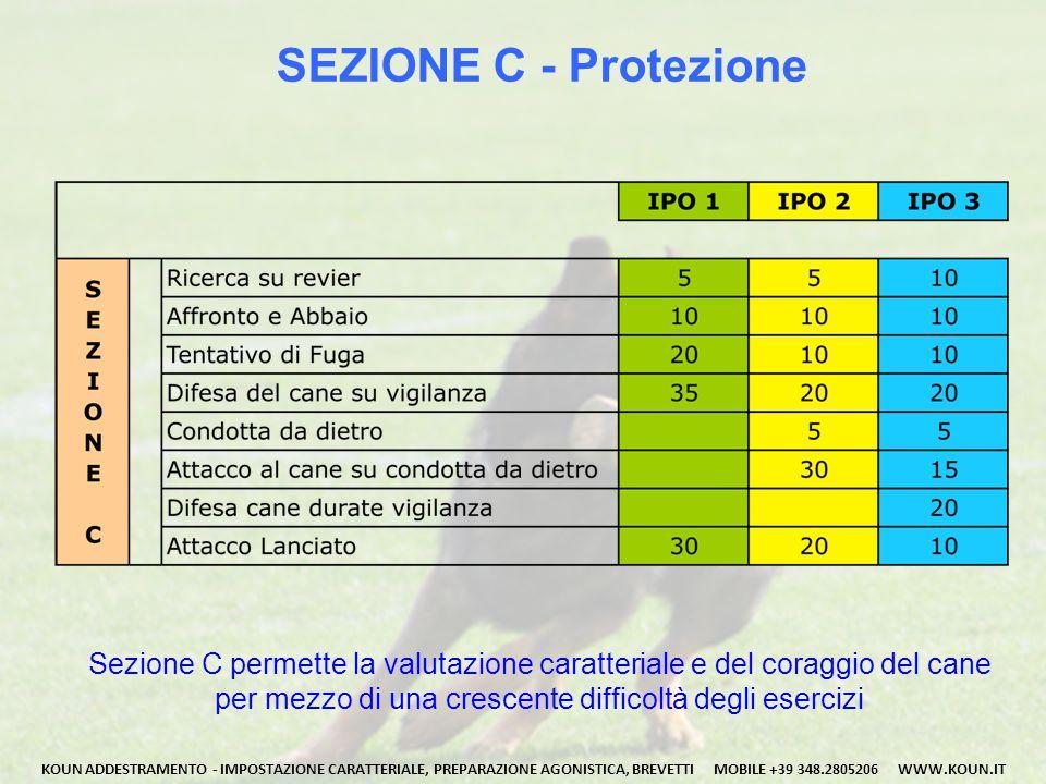 SEZIONE C - Protezione Sezione C permette la valutazione caratteriale e del coraggio del cane. per mezzo di una crescente difficoltà degli esercizi.