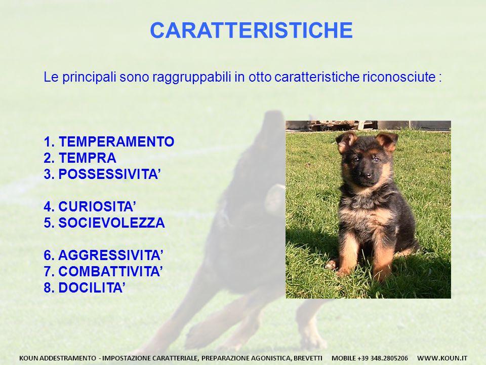 CARATTERISTICHE Le principali sono raggruppabili in otto caratteristiche riconosciute : 1. TEMPERAMENTO.
