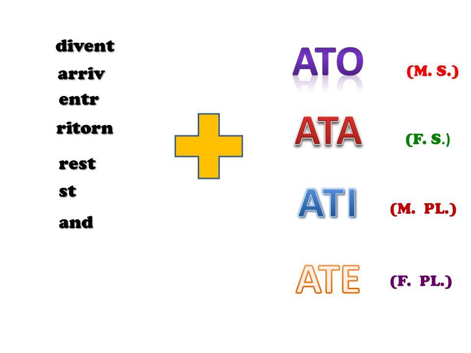 Ato ATA ATI ATE divent arriv entr ritorn rest st and (M. S.) (F. S.)