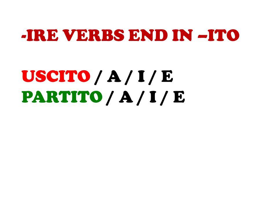 -IRE VERBS END IN –ITO USCITO / A / I / E PARTITO / A / I / E