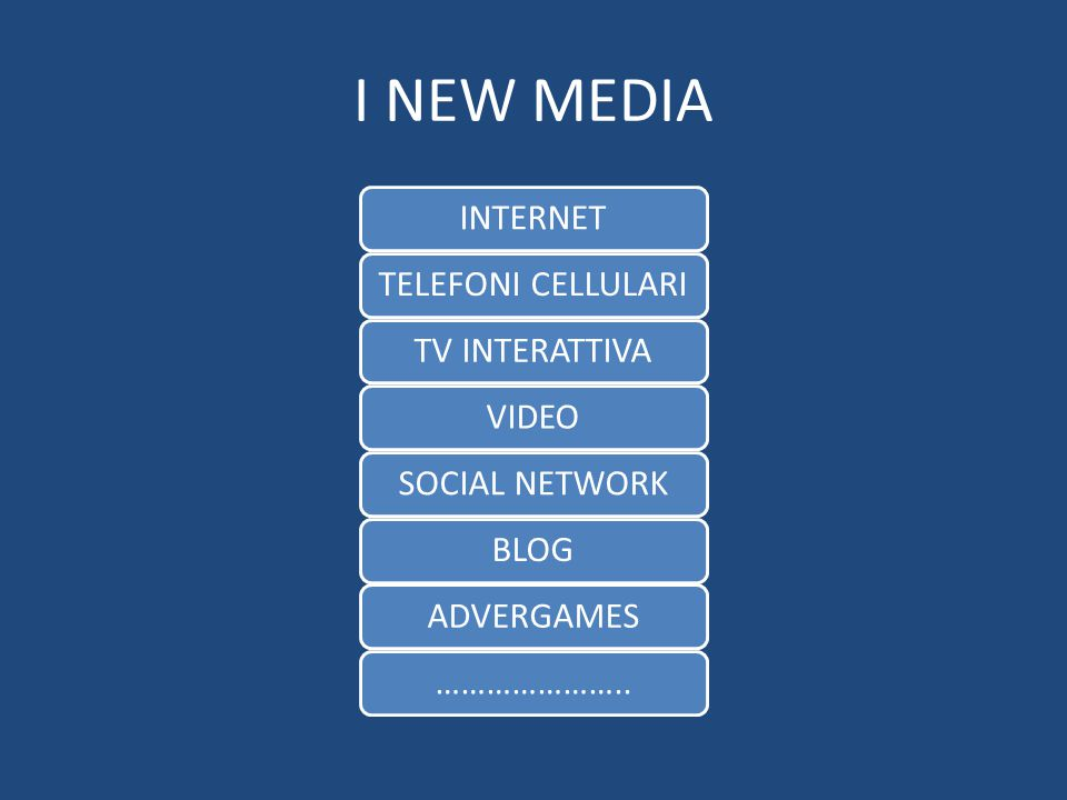 I NEW MEDIA INTERNET TELEFONI CELLULARI TV INTERATTIVA VIDEO
