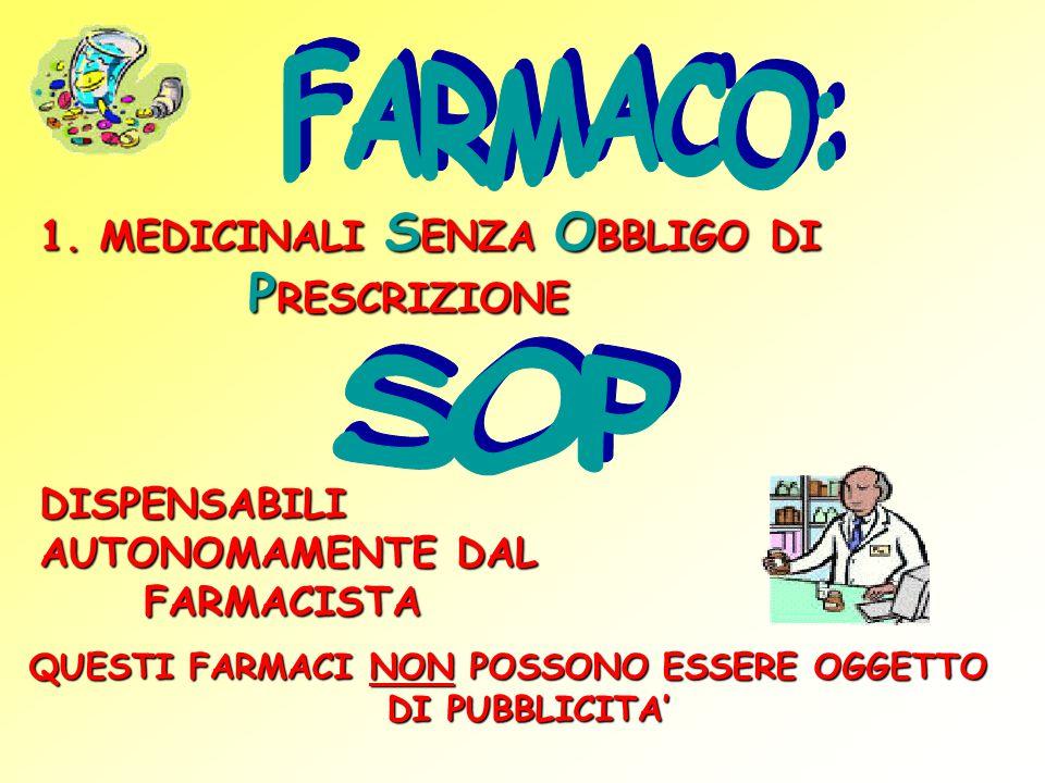 FARMACO: SOP 1. MEDICINALI SENZA OBBLIGO DI PRESCRIZIONE