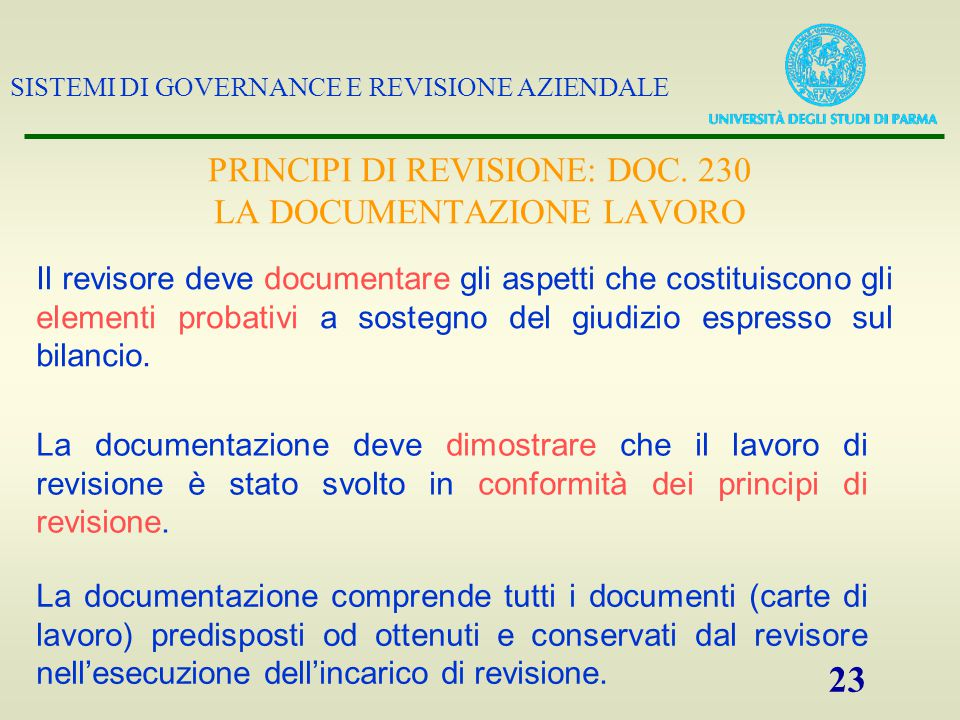 PRINCIPI DI REVISIONE: DOC. 230 LA DOCUMENTAZIONE LAVORO