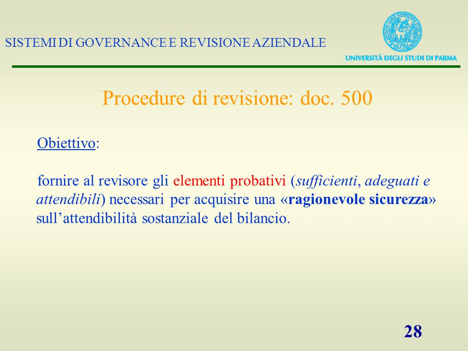 Procedure di revisione: doc. 500