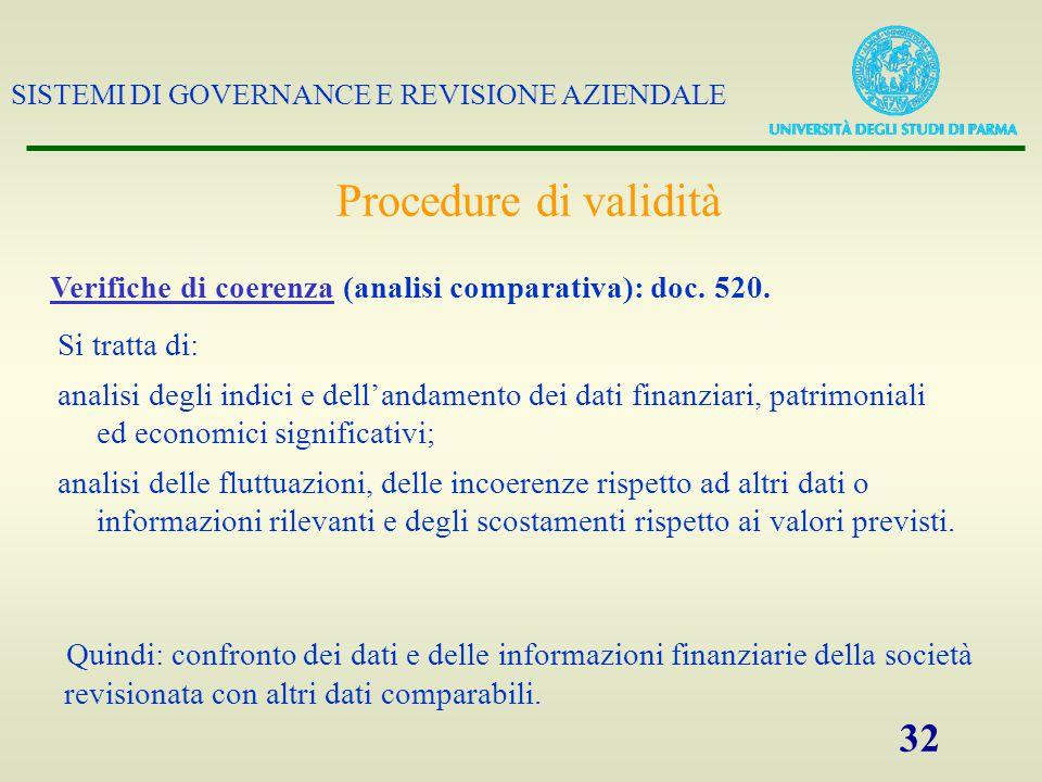 Procedure di validità Verifiche di coerenza (analisi comparativa): doc. 520. Si tratta di: