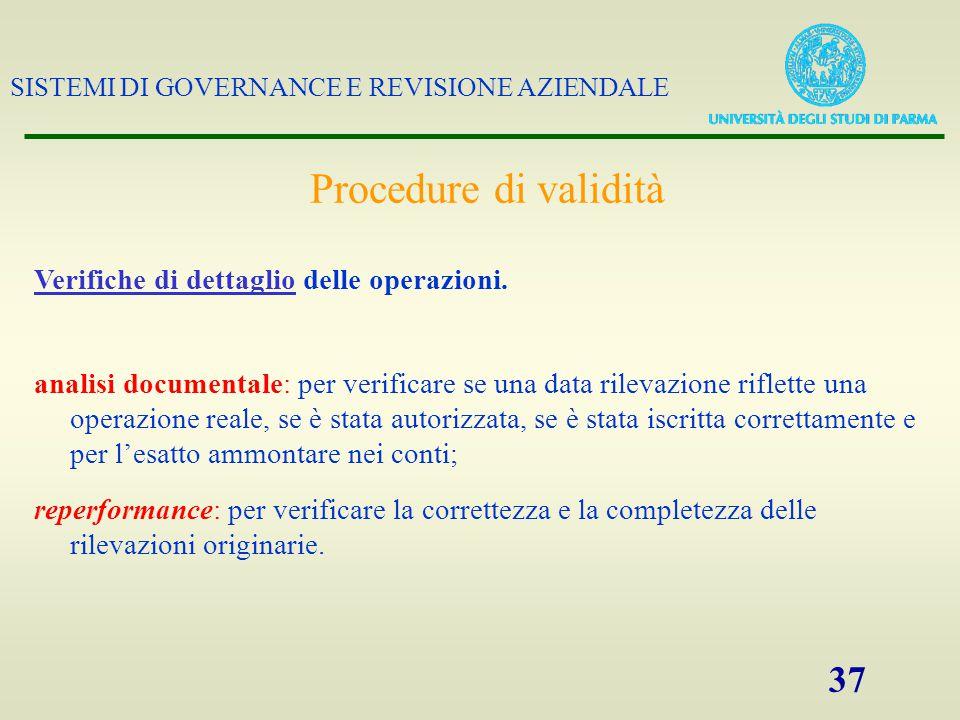 Procedure di validità Verifiche di dettaglio delle operazioni.