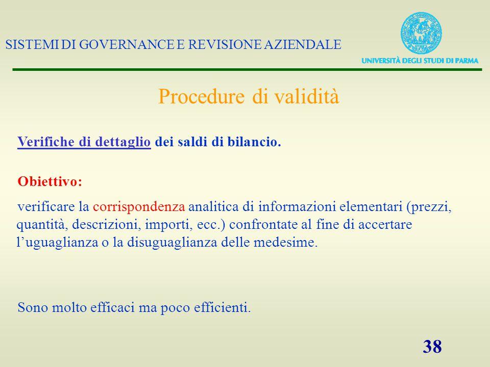 Procedure di validità Verifiche di dettaglio dei saldi di bilancio.