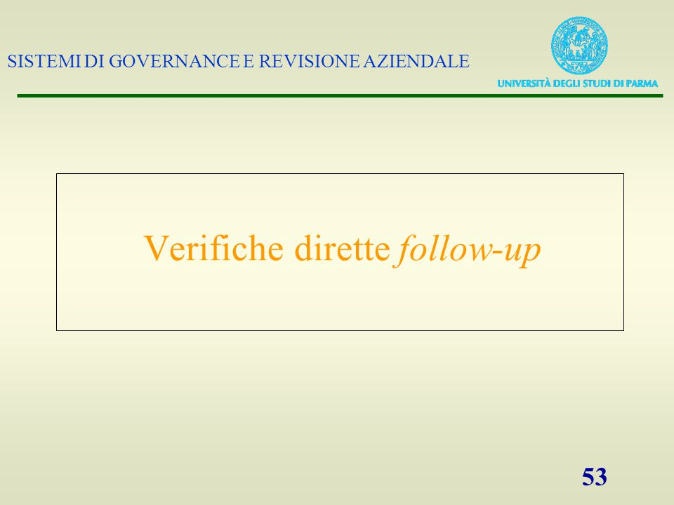 Verifiche dirette follow-up
