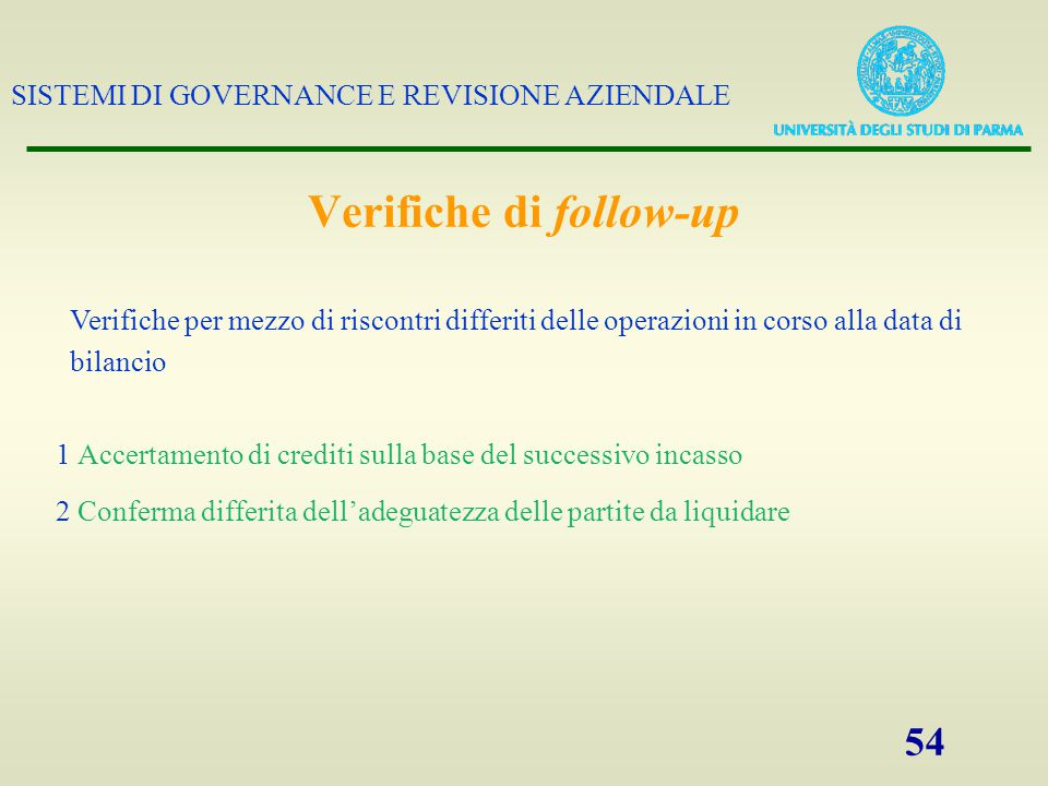 Verifiche di follow-up