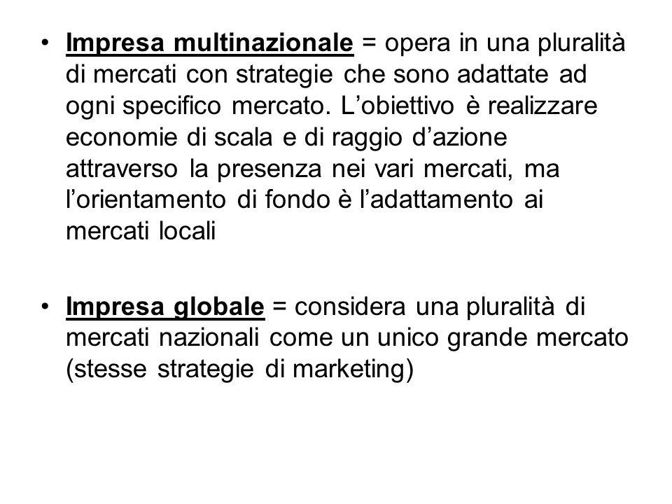 Impresa multinazionale = opera in una pluralità di mercati con strategie che sono adattate ad ogni specifico mercato. L'obiettivo è realizzare economie di scala e di raggio d'azione attraverso la presenza nei vari mercati, ma l'orientamento di fondo è l'adattamento ai mercati locali
